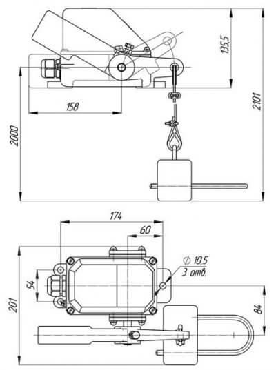 Габаритная схема выключателя КУ-703