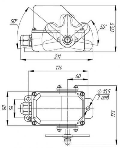 Габаритная схема выключателя КУ-704